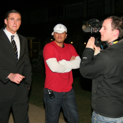 Matt Fiddes Peter Andre filming