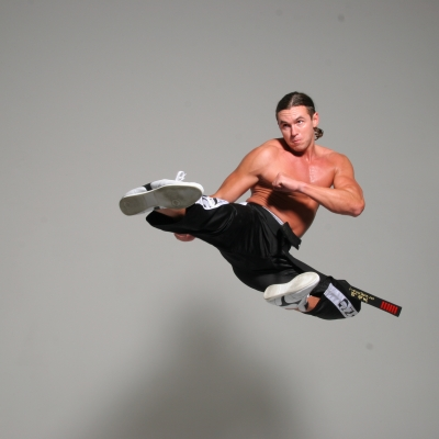 Matt Fiddes flying kick Fiddes