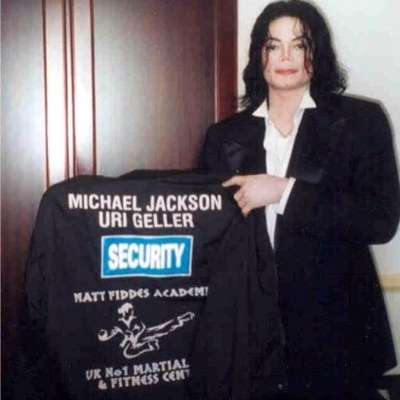 Matt Fiddes jacket held by Michael Jackson