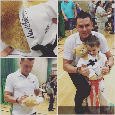 Matt Fiddes teddy bear signing