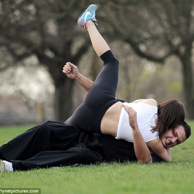 Matt Fiddes training Roxanne Pallett