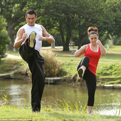 Matt Fiddes training TV Star Dani Harmer