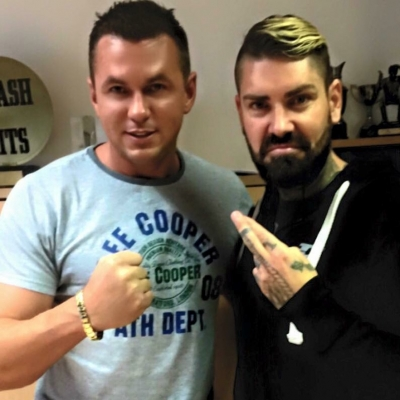 Matt Fiddes with Boyzones Shane Lynch in London