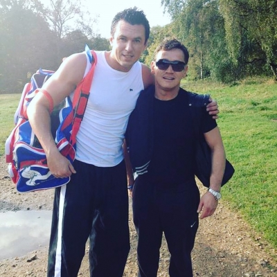 Matt Fiddes with Eastenders star Sid Owen