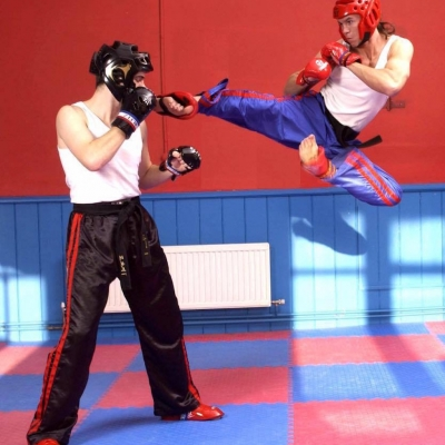 matt fiddes flying kick with head protection